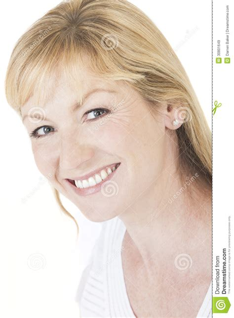 blonde hair for middle age women happy smiling middle aged woman royalty free stock images