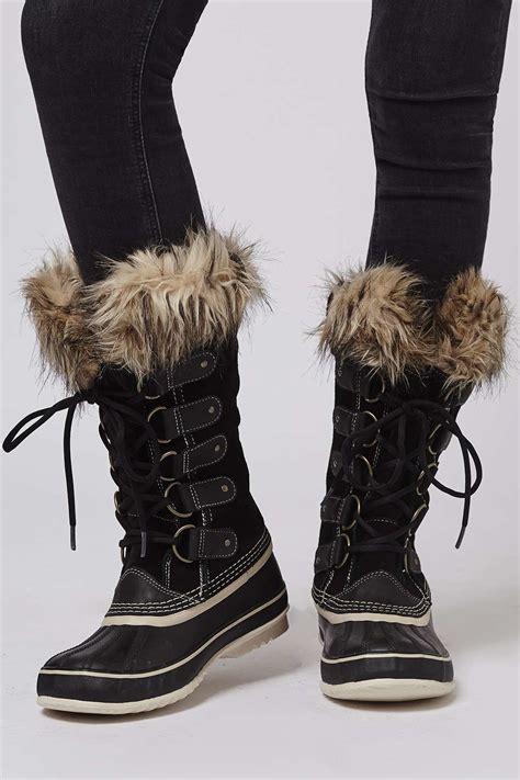 joan of arctic boot topshop joan of arctic sorel boots in black lyst