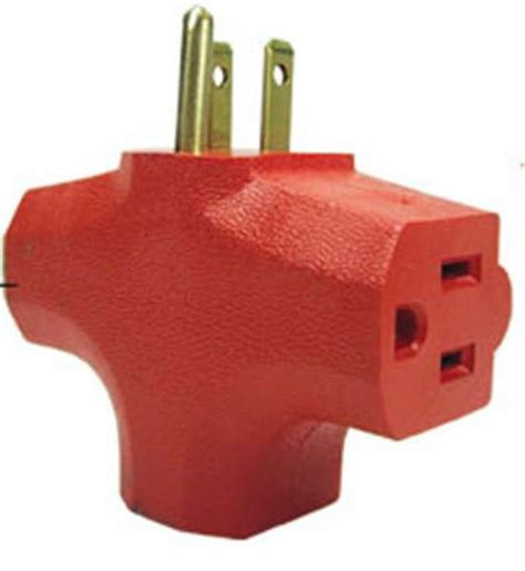 Three Way L Socket by 3 Way Outlet Wall Adapter T Shaped Wall Tap 3 Prong Orange Ebay