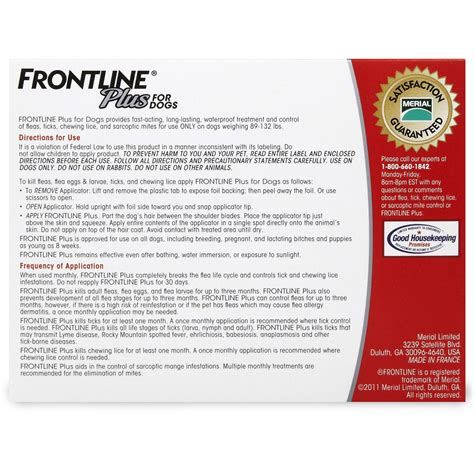 frontline plus for dogs reviews frontline plus for dogs 89 132 lbs 6 month