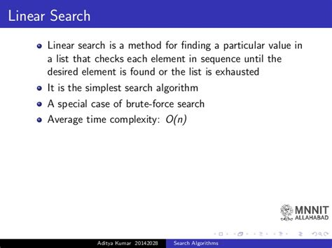 Average Complexity Of Linear Search Search Algprithms