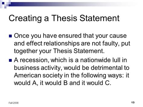 creating a thesis writing cause and effect essays ppt