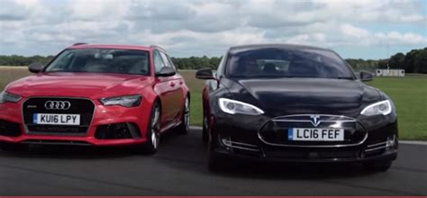 Tesla Model S On Top Gear Top Gear Tesla Model S Vs Audi Rs6 Drag Race Dpccars
