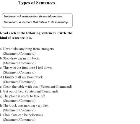 Types Of Sentences Worksheet Pdf by Type Of Sentences