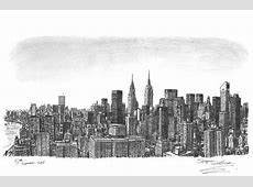 Manhattan Skyline - originals and prints by Stephen ... New York Skyline Drawing Autistic