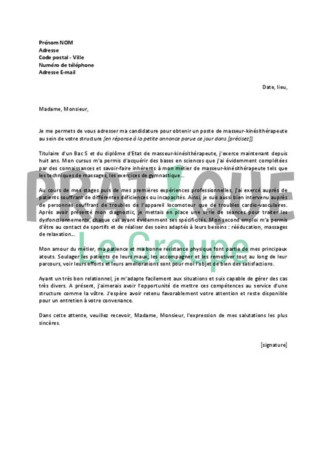 Lettre Demande De Stage Kinesitherapeute Modele Lettre De Motivation Kine Document