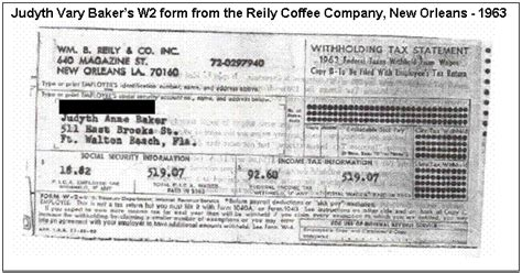 Text Box: Judyth Vary Baker?s W2 form from the Reily Coffee Company, New Orleans   1963