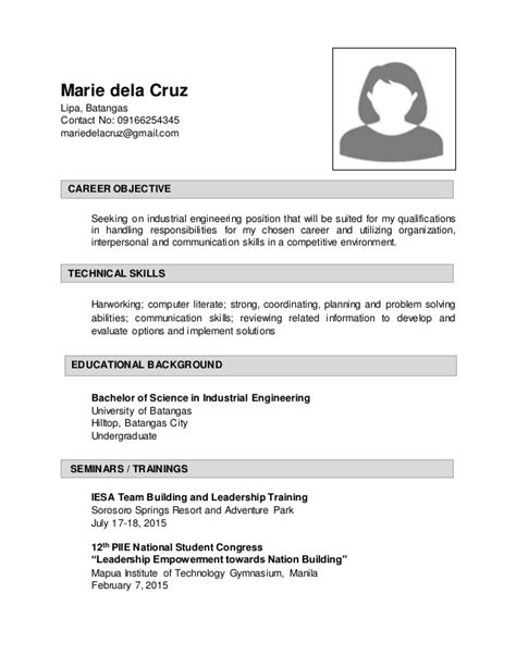 sle resume for industrial enginering
