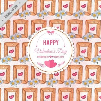 64 pattern rucksack frame happy valentine pattern with watercolor frames