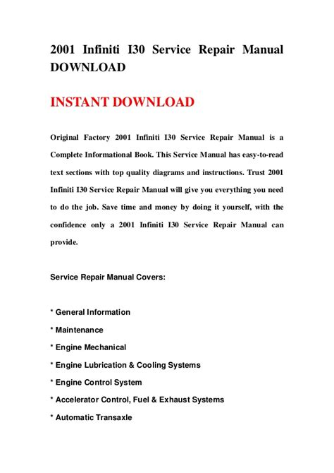 service repair manual free download 2001 infiniti i electronic throttle control 2001 infiniti i30 service repair manual download