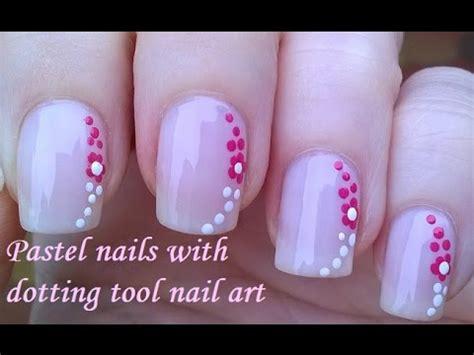 nail art tool tutorial pastel pink floral nail art tutorial dotting tool nails