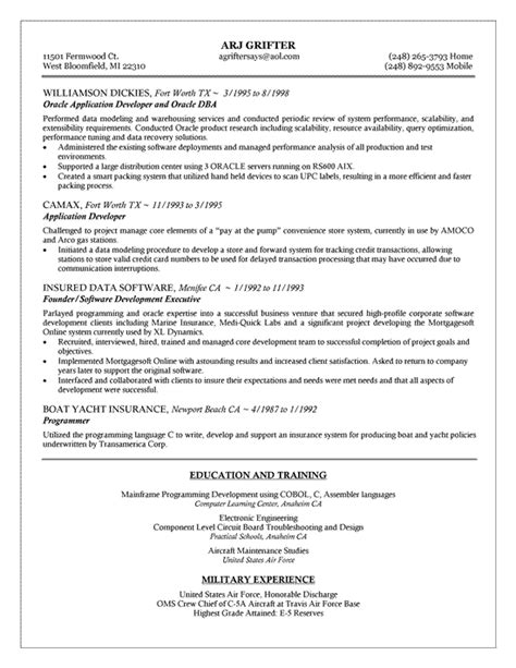Oracle Business Analyst Sle Resume by Oracle Dba Resume Exle