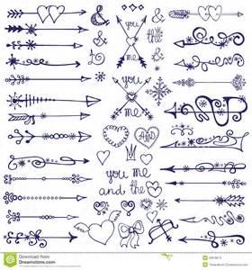 doodle arrows decor element snowflakes winter love stock