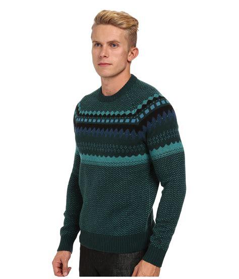 Sweater Original original penguin engineered geo pattern sweater in green for botanical green lyst