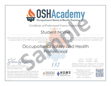 fall protection certification template oshacademy 132 hour osh professional program