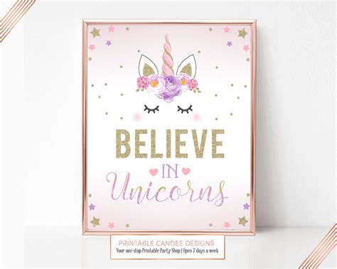 printable unicorn signs unicorn party sign believe in unicorns birthday sign