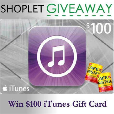 Itunes Giveaway - win a 100 itunes gift card shoplet