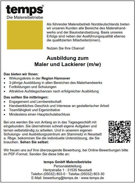 Bewerbungsschreiben Ausbildung Maler Ausbildung Zum Maler Und Lackierer M W Temps Gmbh