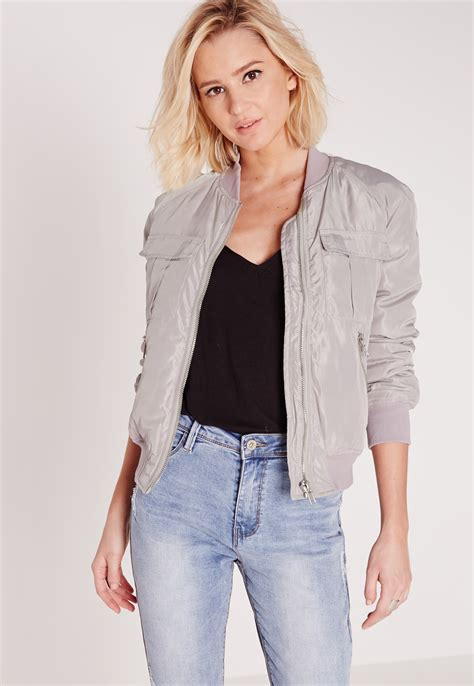 Jaket Bombber Scrimmer Light Grey Jaket Bomber Jaket Bomber missguided utility bomber jacket light grey in gray lyst
