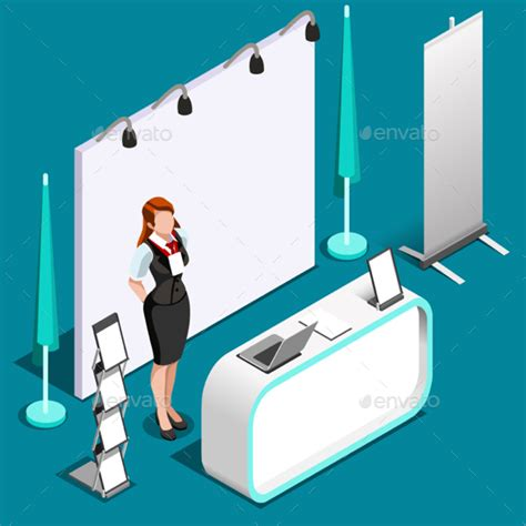 Exhibition Booth Design Vector | exhibition 3d booth standing person isometric vector