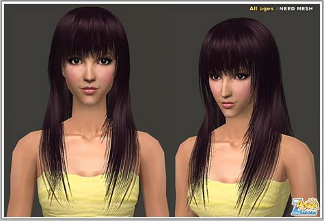 the sims 2 downloads fringe hairstyles mod the sims found long hair with fringe bangs