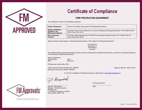 design compliance certificate fire eater fm approval certificate of compliance 2013 04