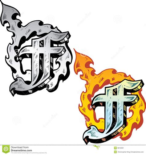 letter f tattoo designs style letter f stock vector image of vector