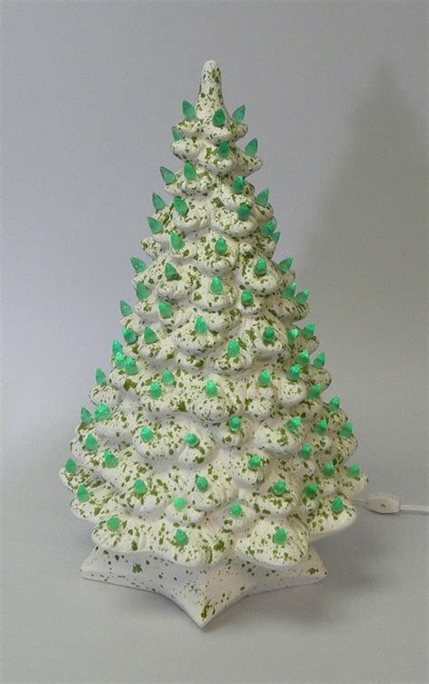 Vintage White And Green Ceramic Lighted Christmas Tree 18 Vintage Ceramic Lighted Tree