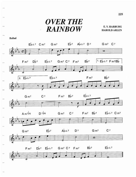 the rainbow testo jazz standard realbook chart the rainbow musique 1