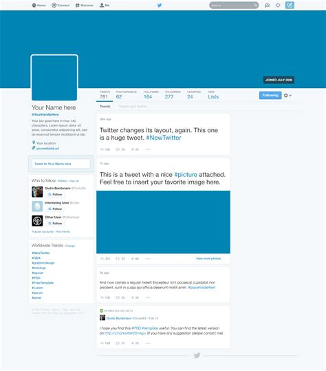 twitter account layout twitter 2014 gui new profile design psd download