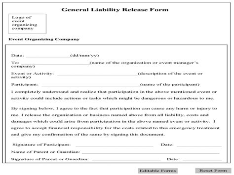 release of liability form car release of liability form printable sle liability