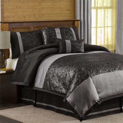 black and silver bedding lush decor metallic animal 6 piece comforter set in black