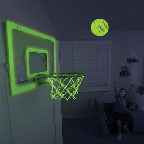 bedroom basketball hoop the glow in the dark indoor basketball hoop hammacher