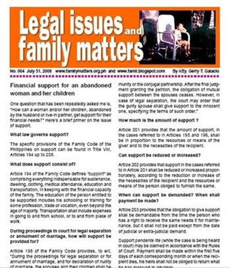 Financial Newsletter Updates And Free Information Family Code Philippines Support For Abandoned