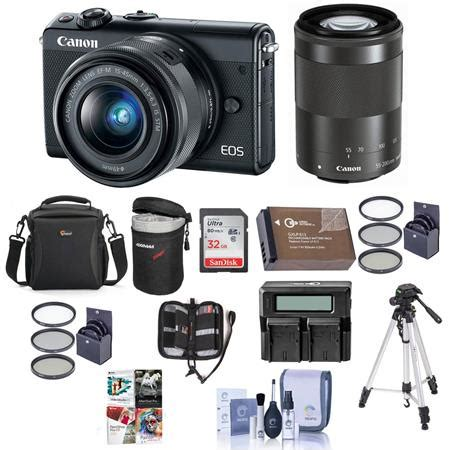 canon eos m100 mirrorless with 15 45mm and 55 200mm stm