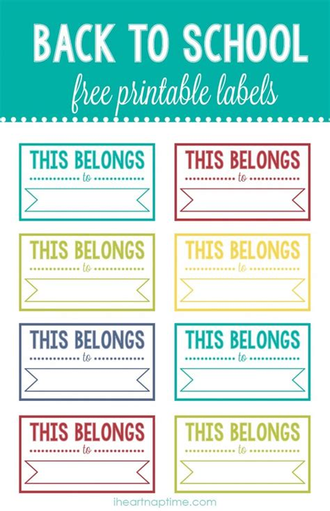 printable school tags 8 best images of back to school printable labels free