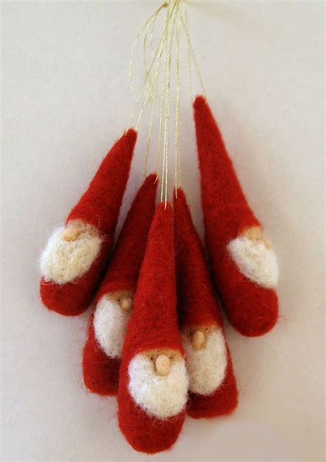 christmas ornament gnomes waldorf inspired red and white