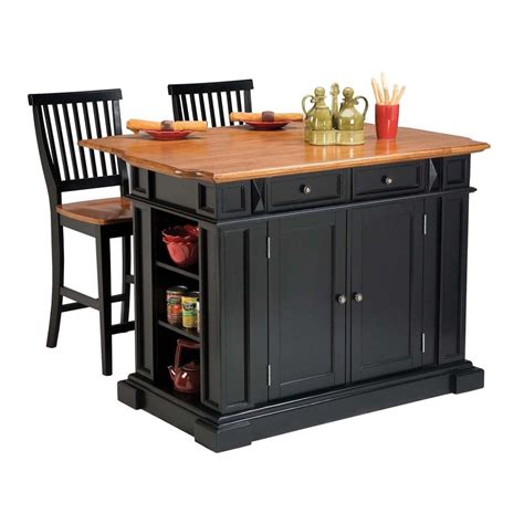Small Kitchen Island With Stools Shop Home Styles Black Farmhouse Kitchen Island With 2 Stools At Lowes
