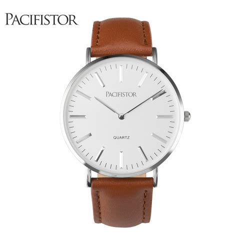 pacifistor mens quartz casual brown leather wrist