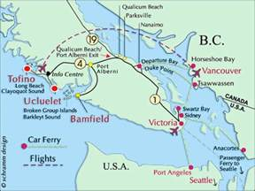 map of canada west coast pacific ucluelet bed and breakfast ucluelet