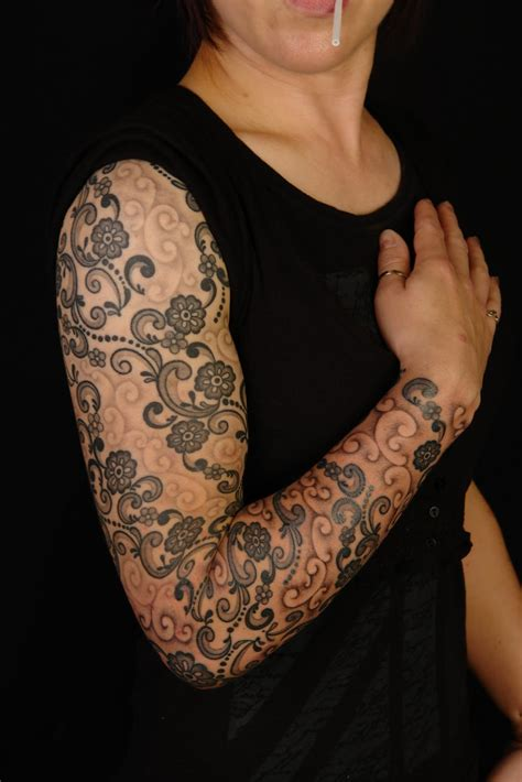 laura tattoo shane tattoos lace design on sleeve