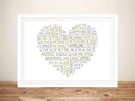 Heart Shaped Word Picture Gifts Canvas Art   Valentines Gift