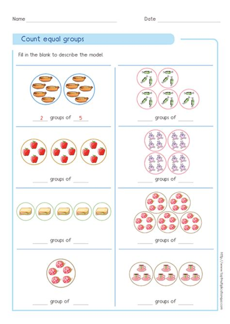Multiplication As Equal Groups Worksheets by Multiplication Count Equal Groups Quizzes Printable Pdf