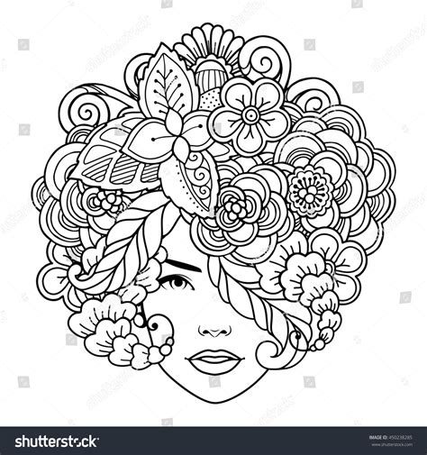 doodle hair vector vector decorative hairstyle flowers leaves stock