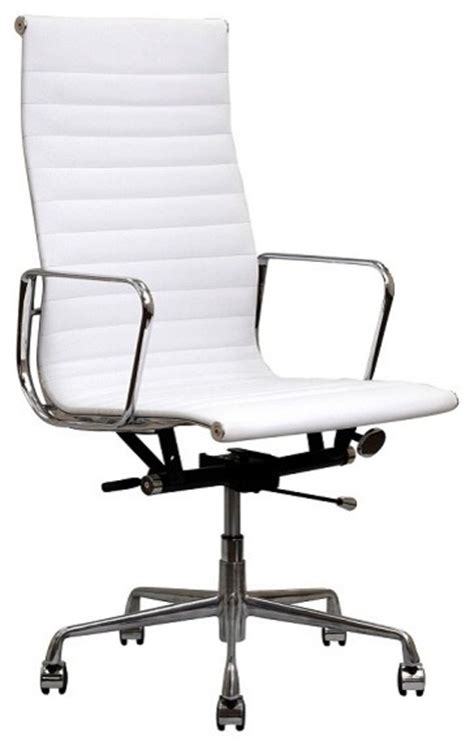 White Modern Office Chair by White Modern Iconic Executive Top Grain Leather Aluminum