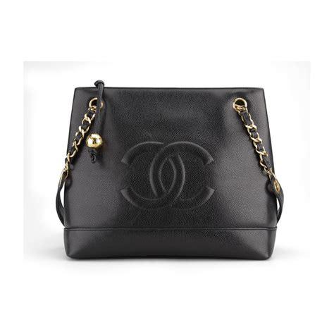 Chanel Shoulder Pouch Bag by Chanel Vintage Black Caviar Leather Shoulder Tote Bag Black