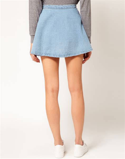 american apparel denim circle skirt in blue lyst