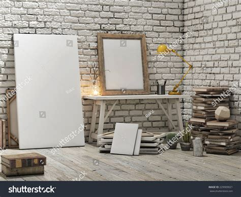poster mock up on the brick wall stock vector image mock up poster loft studio white brick wall background
