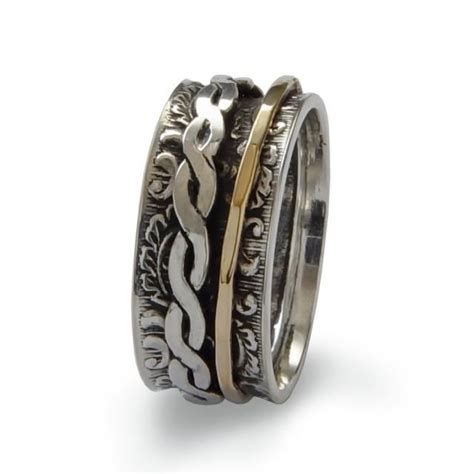 Handmade Silver And Gold Rings - braided gold spinner ring sterling silver and gold filled