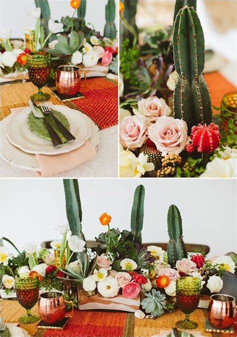 cactus and rose table decor @weddingchicks   Centerpieces